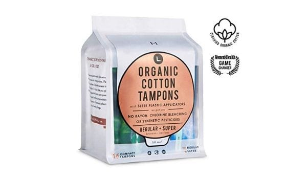 L. Organic Cotton Tampons will keep you dry all the day