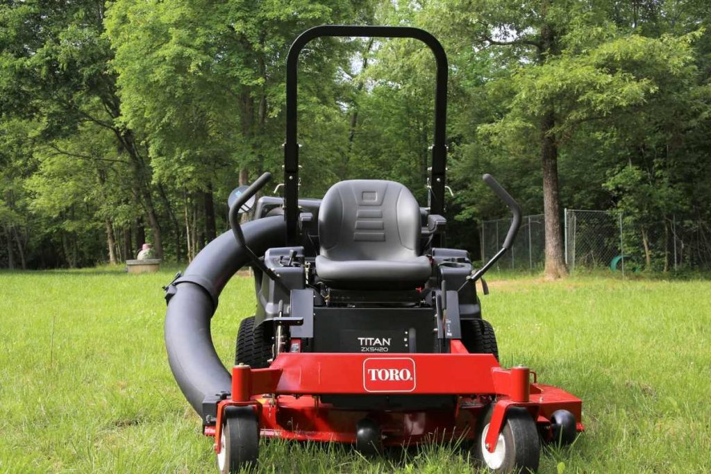 Zero Turn mower standing in a garden