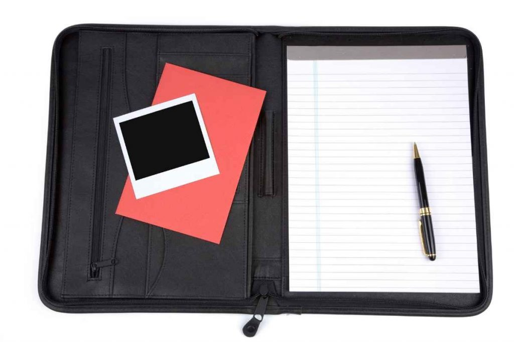 Beautiful leather portfolio with pencil and bag