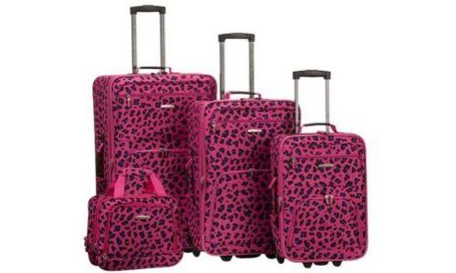 Rockland 4 Piece Luggage Set, Magenta Leopard