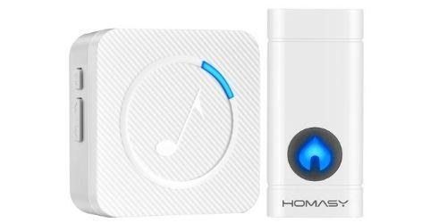 5. Homasy Wireless Doorbell, Mini Waterproof Door Bell Chime