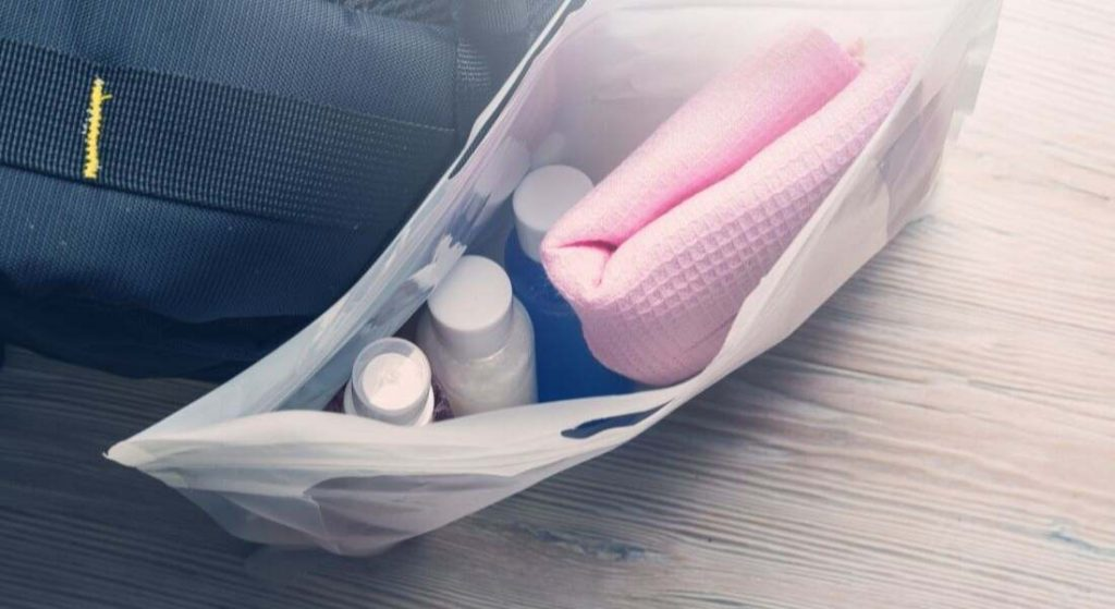A toiletry bag with all the necessary equipments