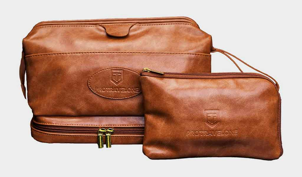 Leather Travel Washbag PC2901 - Protravelone Toiletry Bag for Men