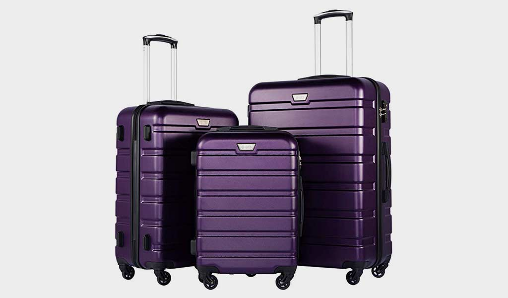 Coolife 3 Pc hard shell luggage sets
