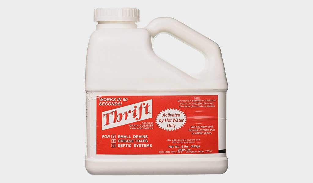 Thrift T-600 Alkaline Drain Cleaner, heavy-duty cleaning solution