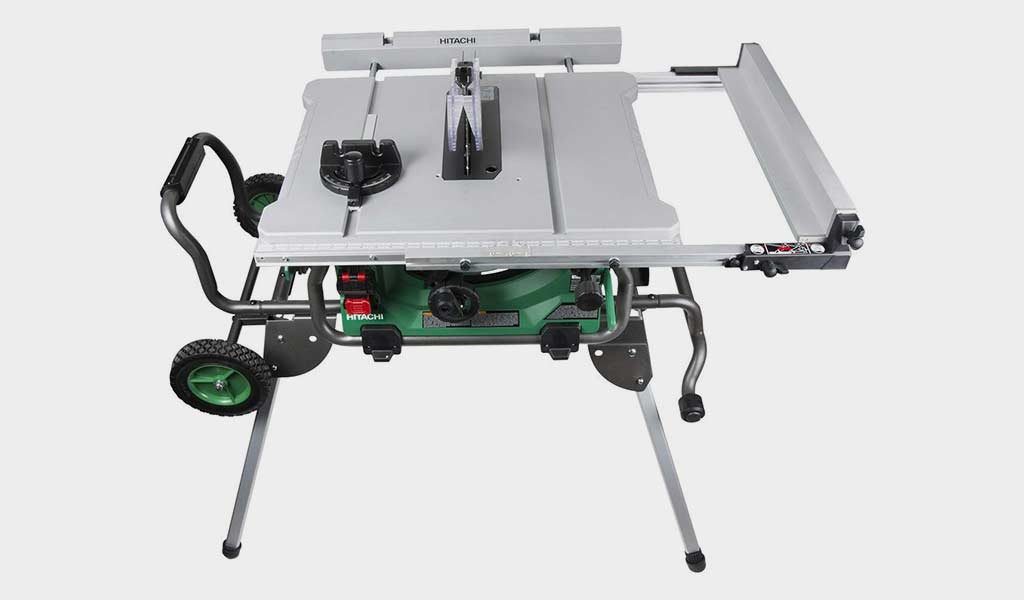 Hitachi Jobsite Table Saw - Rip Capacity and Fold and Roll Stand